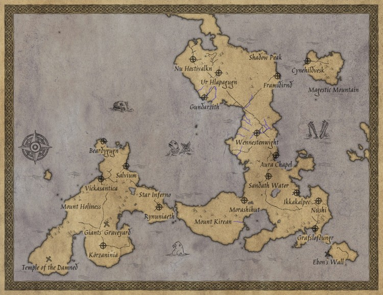 Rough Draft of Fantasy Map